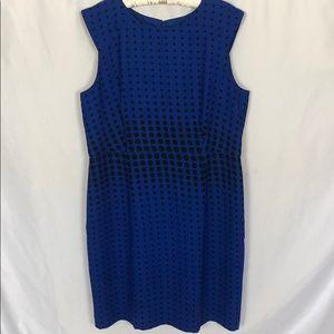 Ann Taylor Blue/Black Polka Dot Shift Dress 18